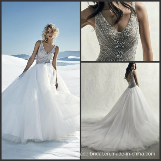V-Neck Bridal Ball Gown Beading Crystal Tulle Wedding Dress 2019 S9039