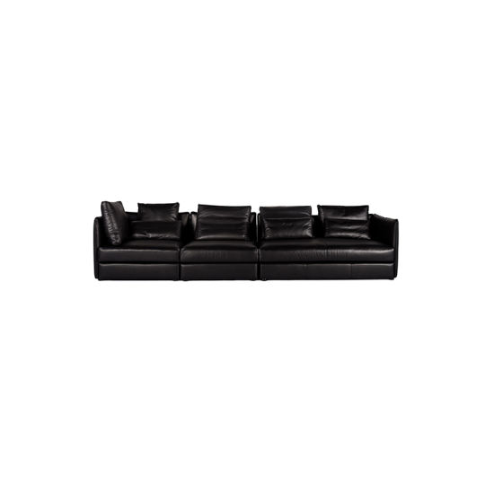 Admirable L Shape Family Black Leather Sectional Sofa Living Room Lounge Sofa Inzonedesignstudio Interior Chair Design Inzonedesignstudiocom