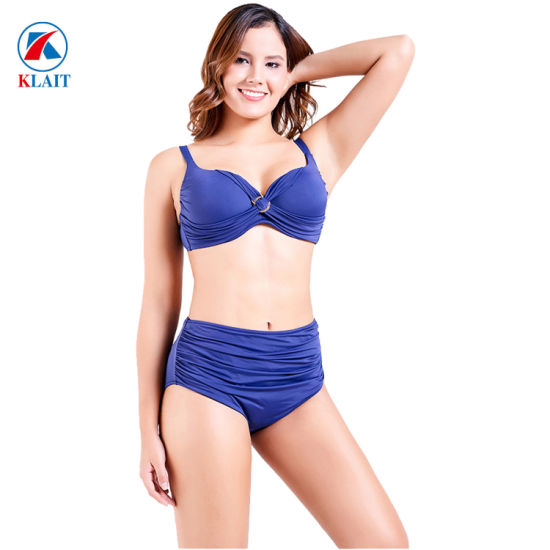 New Sexy High Waisted Blue Push up Two-Piece Women Beachwear pictures & photos