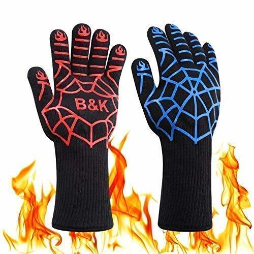 BBQ Grill Cooking Gloves - Oven Heat Resistant Barbecue Mitts Gloves for Frying, Baking, Charcoal Grilling, Smoker, Outdoor, Indoor (14 inches)