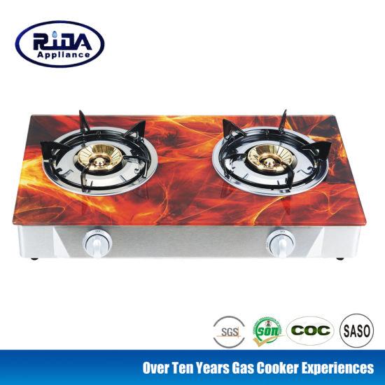 Bangladesh Hot Sale High Quality 2 Burners Tempered Glass Top China Cookware