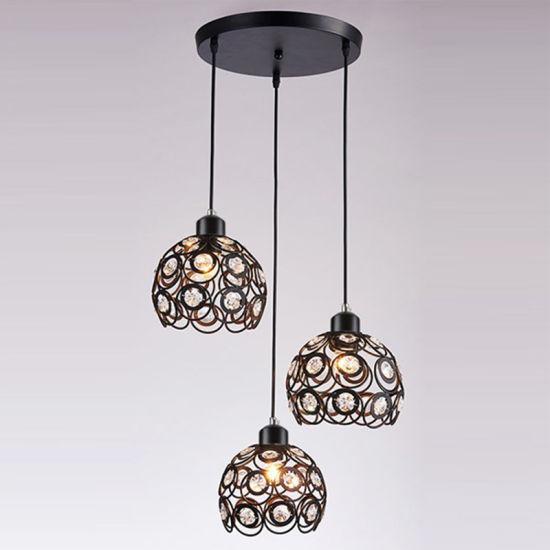 Interior Lighting for Modern Crystal Pendant Lamp with 3 Lights for Restaurant Decoration