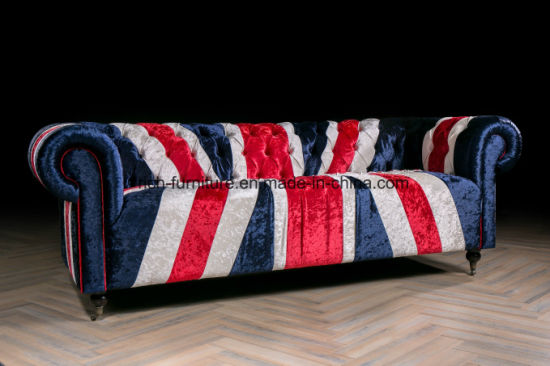 Vintage Elegant Style Union Jack Fabric Sofa For Living Room