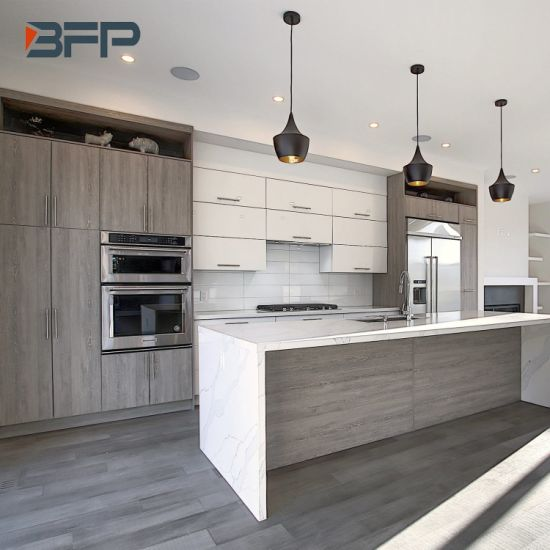 China Canadian Style Two Tone Color Light Grey Oak And White Gloss Kitchen Cabinet With Waterfall And Island China Kitchen Cabinets Kitchen Products