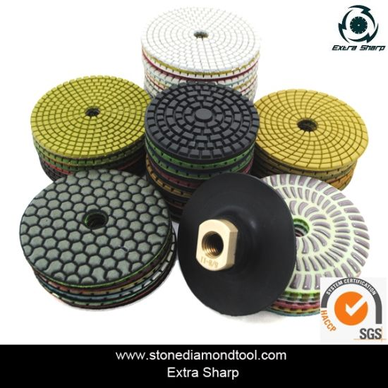 "4"" Wet Granite Velcro Back Flexible Diamond Polishing Pad"