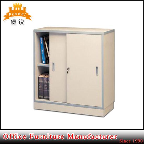 Half Height Knock Down Steel Office Furniture Sliding Door Small Metal Storage Cupboard Filing Cabinet