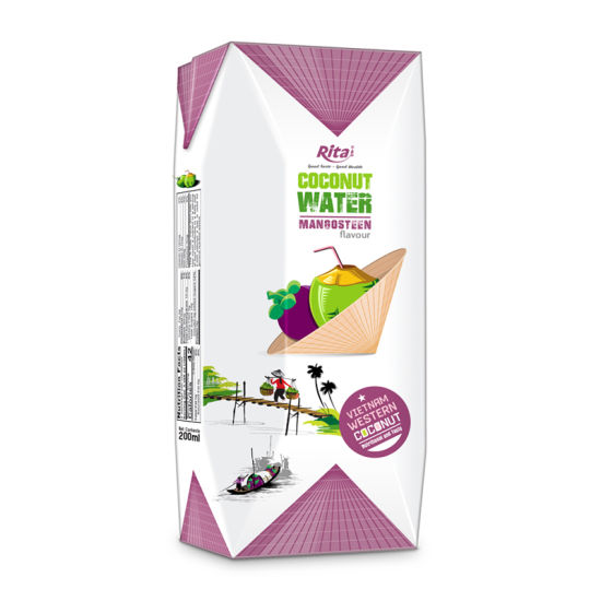 200ml Paper Box Manufacturer Pure Coconut Water with Mangosteen Flavor