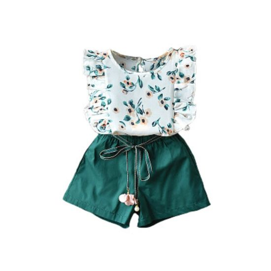 Girl Toddler Baby Girls Two Piece Outfit Set Summer Wear Flower Flare Sleeve Top+Belt Shorts Set Kids Casual Outfit Children Apparel Esg14122 pictures & photos