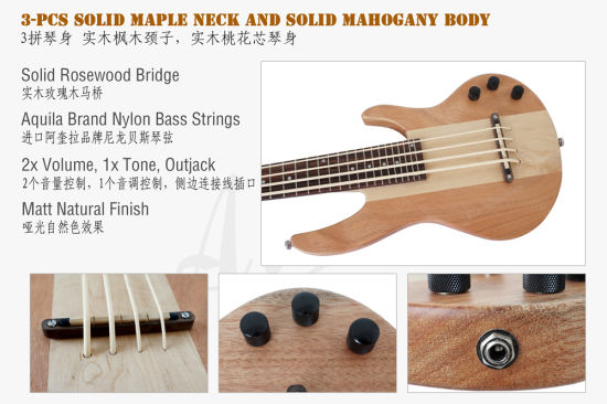 Aiersi All Solid Mahogany / Solid Ash Electrical Bass Ukulele for Wholesale pictures & photos