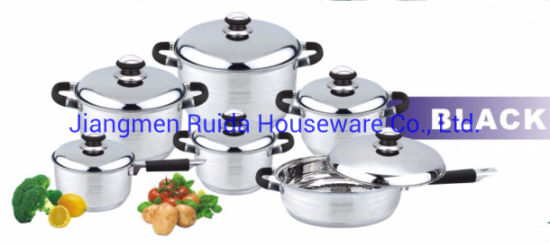 12PCS Stainless Steel Cookware Set with Stainless Steel Lid with Black Silicone Handle