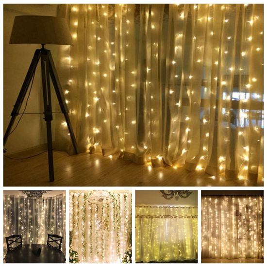 LED Curtain Lights With Remote Silver String Window For Indoor And Outdoor Full Waterproof Multiple
