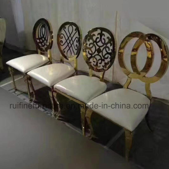 2017 Modern Ornamental Engraving Round Back Gold Banquet Dining Chair For Wedding Event
