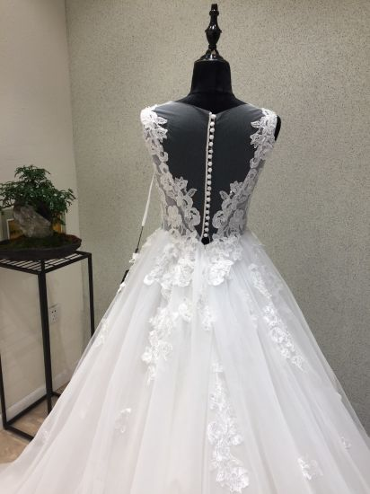 Ivory Beading Lace Prom Evening Dress Wedding Bridal Gown pictures & photos
