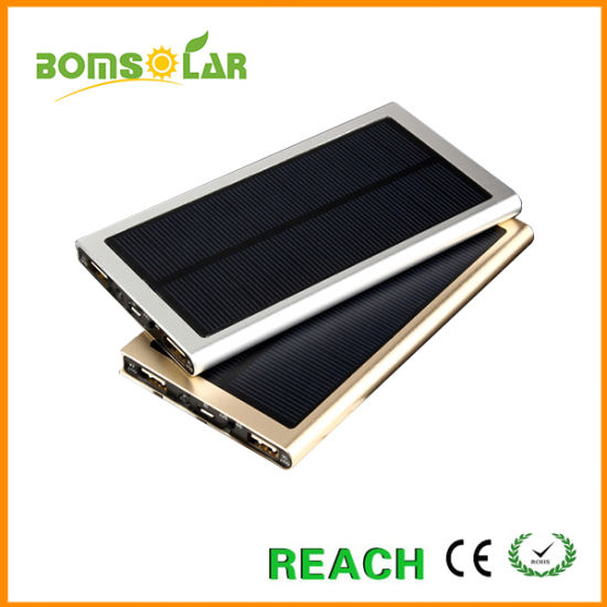 Super Thin Aluminium Solar Power Bank Charger for Mobile Phone pictures & photos