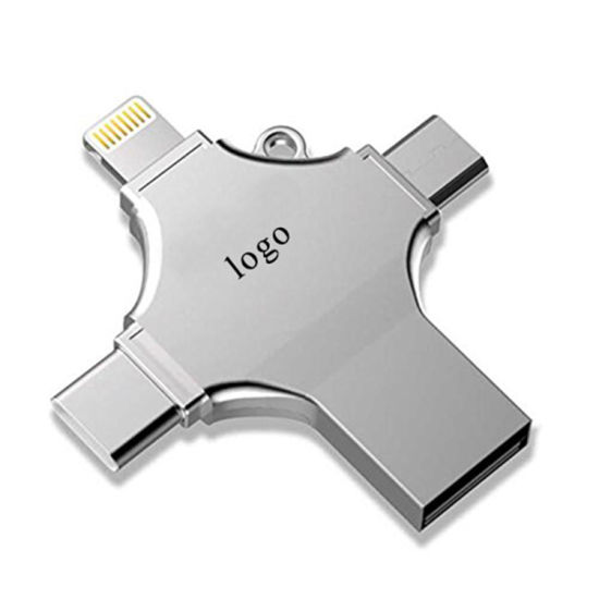 2018 Hot-Sale 4 in 1 Multi-Function OTG USB Flash Drive for Type-C /Lightning/ Micro USB/ Computer with Customized Logo pictures & photos