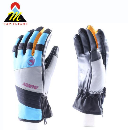 Durable PU Palm Outdoor Hiking Camping Skiing Waterproof Ski Gloves with Waterproof Zipper