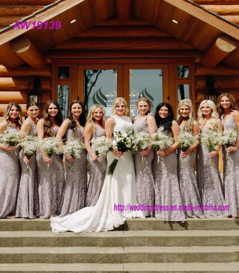 Lace Grey Bridemaid Dresses Long Formal Wedding Party Prom Dresses
