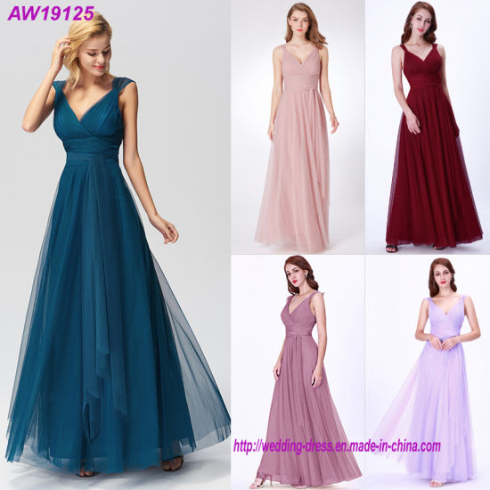 Long Pretty Illusion A-Line Bridesmaid Dresses for Wedding Party