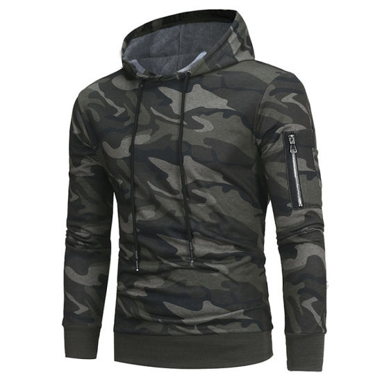 2019 Fashion Men Athletic Polyester Camouflage Muscle Fit Hoodies Zip up Pocket Black Camo Hoodie