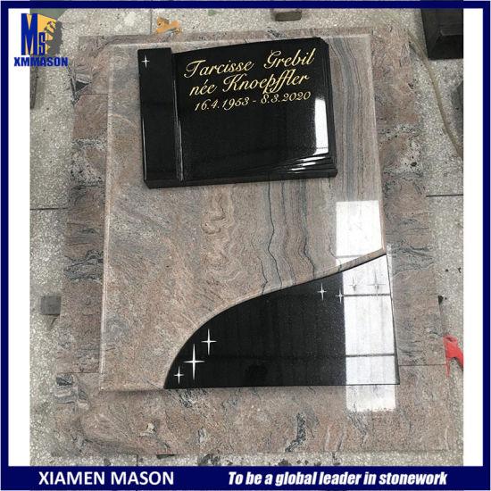 Indian Juparana Yellow Granite Gravestone with Black Open Book Sculpture