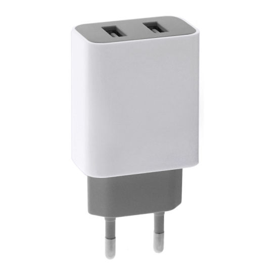 White Color Adapter 5V 2.1A Dual Port Travel USB Charger