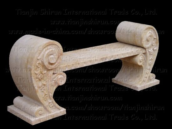 Marble Scroll Bench Carving Garden Seat Outdoor Stone Furniture (BC102)
