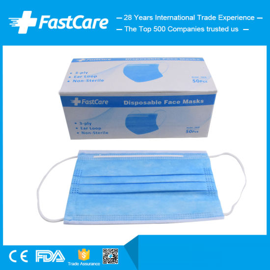 China Manufacturer Supplier of Earloop 3ply Disposable Medical Surgical Face Mask