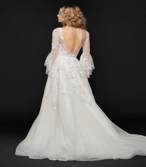 China Long Sleeve Deep V Neck Wedding Dress Shiny Lace