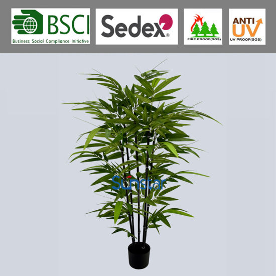 120cm Black Trunk Bonsai Potted Anti-UV Outdoor Bamboo Tree Artificial Plant for Decoration (51408)