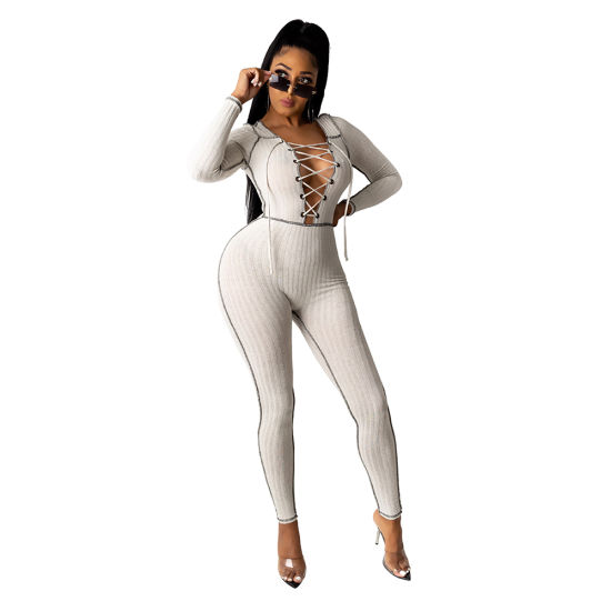 L56166 Sexy Ladies Clubwear Casual Eyelet Bandage Pit Jumpsuit