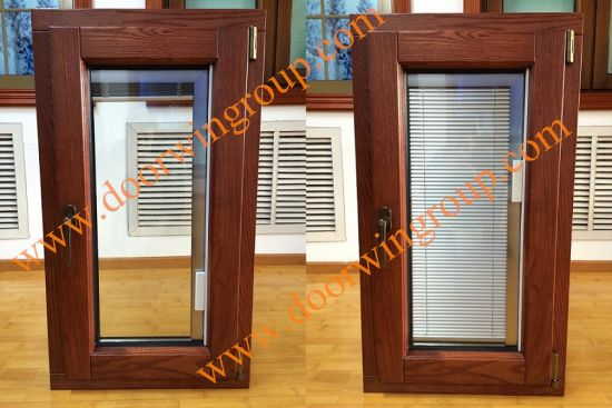 Wood Aluminium Window with Internal Shutters, Aluminium Windows with Solid Wood Cladding (Built-In Shutter) pictures & photos