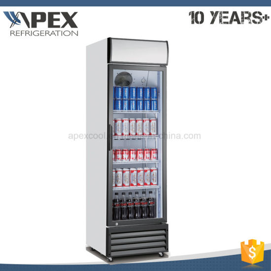 China Beverage Refrigerator Glass Door Upright Display Cooler With