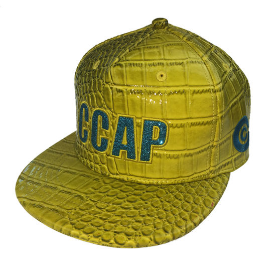 Custom Embroidery Yellow PU Snapback Cap Hats for Party for New Year pictures & photos