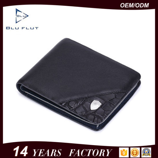 China Soft Top Grain Leather Wallet Business Card Holder Men Purse