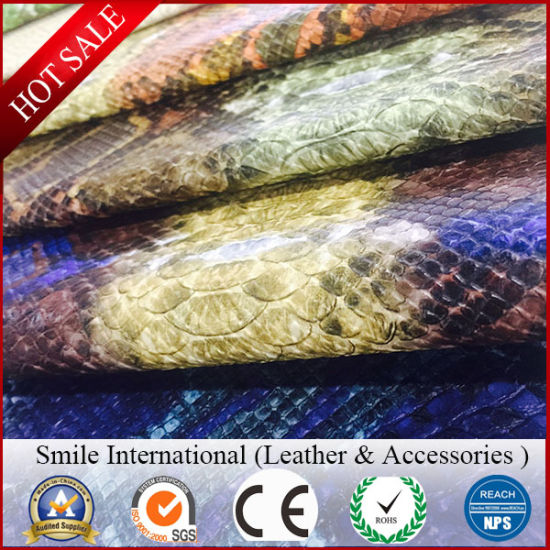 Artificial Bag Leather Embossied Snake Skin Matte 100% PU Synthetic Leather Fake Leather for Bag Raw Material Shoes pictures & photos