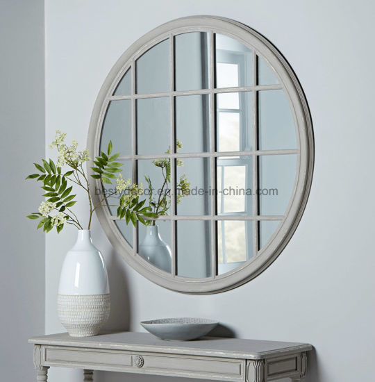 China Large French Window Shape Wall Frame Round Mirror China Mirror Wall Mirrors