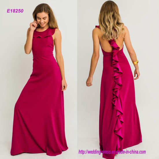 Elegant Sleeveless A Line Evening Dress With Ruffles On Back