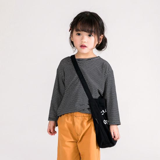 Spring New Stripe Girls Loose Bottoming Shirt Children Soft Cotton Long-Sleeved T-Shirt