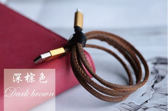 New High Quality Blue Leather Jean Denim Micro USB Cable pictures & photos