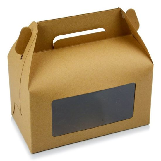 Cupcake Brown Kraft Paper Packaging Box with Clear Window pictures & photos