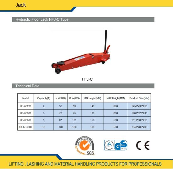 China Hydraulic Floor Transmission Jack 2 Ton - 10 Ton