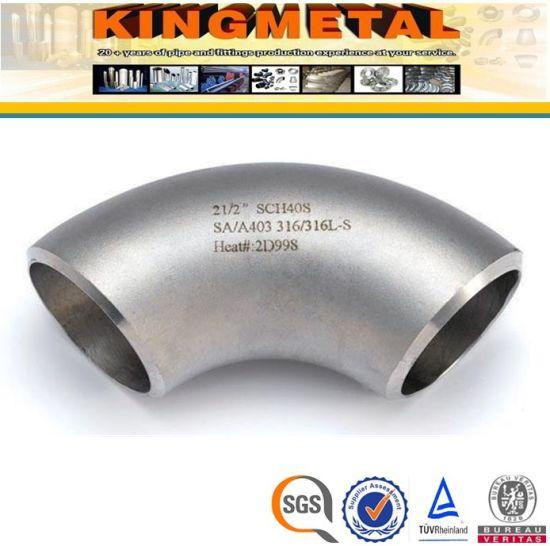 "2 1//2/"" Butt Weld 90 Degree Elbow Short Radius Schedule 40 304 Stainless Steel"
