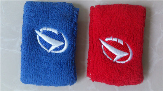 Sports Embroidery Terry Custom Cotton Wristband