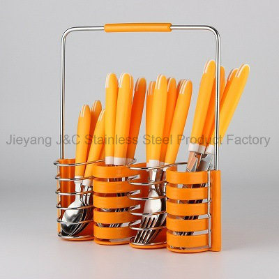 24PCS Plastic Handle Stainless Steel Cutlery with Color Box Packingplastic Handle Cutlery Set pictures & photos