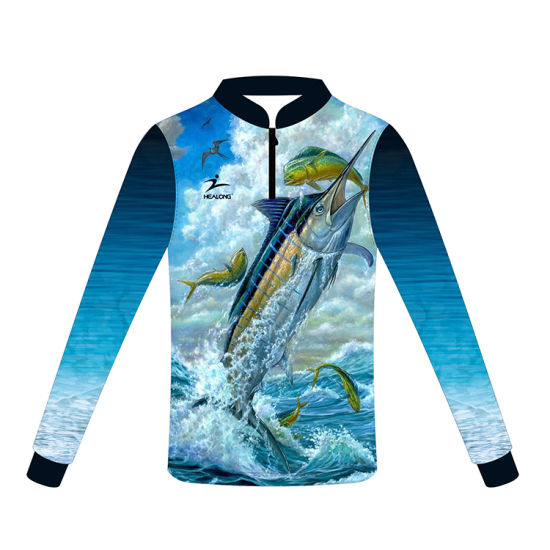Healong Any Logo Sublimation Custom Fishing Wear Fishing Shirts pictures & photos