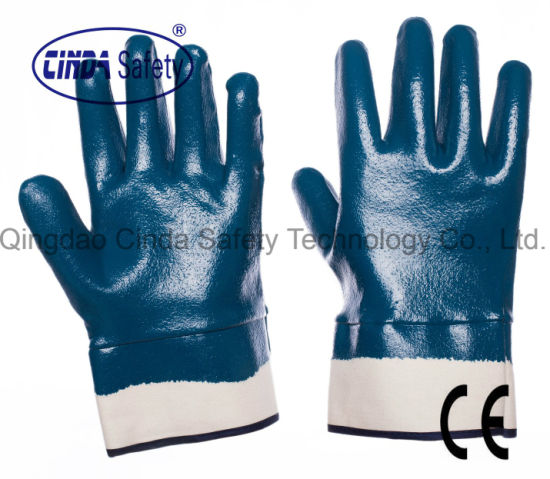 Cotton Jersey Liner with Nitrile Oil Proof Work Gloves/Safety Gloves