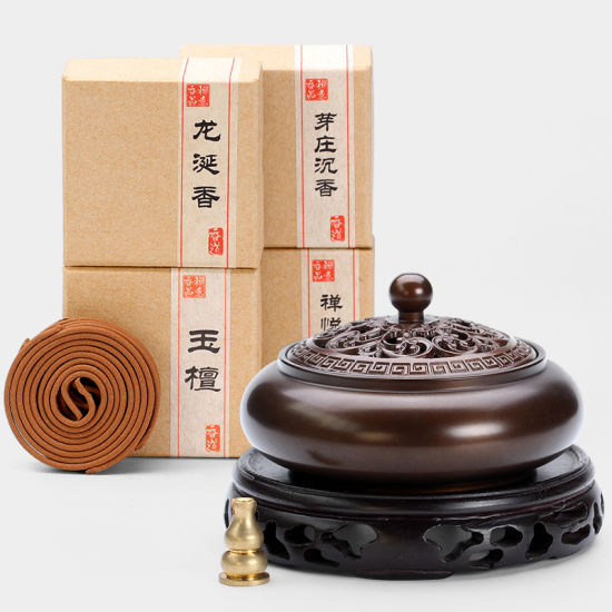 Pure Copper Plate Incense Burner Household Indoor Incense Burner Ancient-Style Incense Burner Large Sandalwood Incense for Buddhist Tea Ceremony pictures & photos