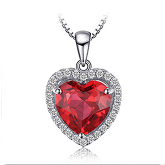 Fashion 925 Sterling Silver Jewelry Wedding/Engagement Necklace Pendant with Gemstone Ruby