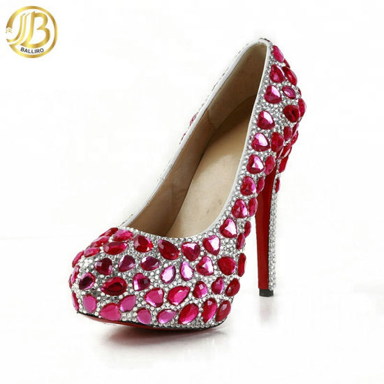 Evening Shoes Diamond Crystal Bead High Heel Shoes Party Wear