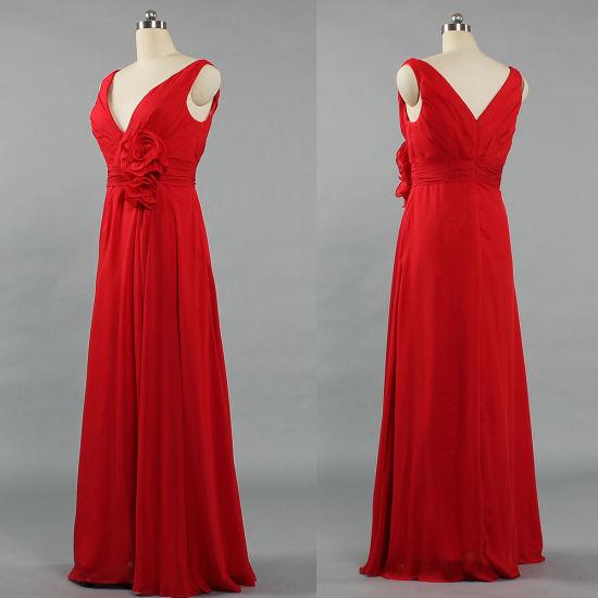 E445 Formal Deep V Sleeveless Red Bridesmaid Gown Long Wedding Guest Dress